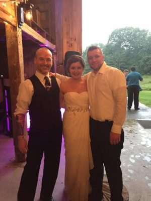 DJ Chris Bouchard with his Wedding Clients at A Barn in Dayton, ME in July 2016