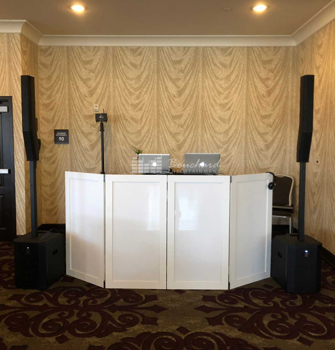 Maine Wedding DJ Setup at A Hotel Banquet Hall
