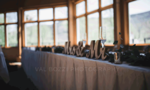 Mr. and Mrs. Wooden Lettering on the Head Table at Sliders Restaurant