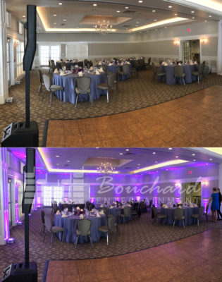 Before and After purple Uplighting at The Woodlands Club