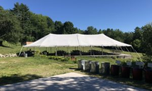 Large White Wedding Reception Tent before Ceremony