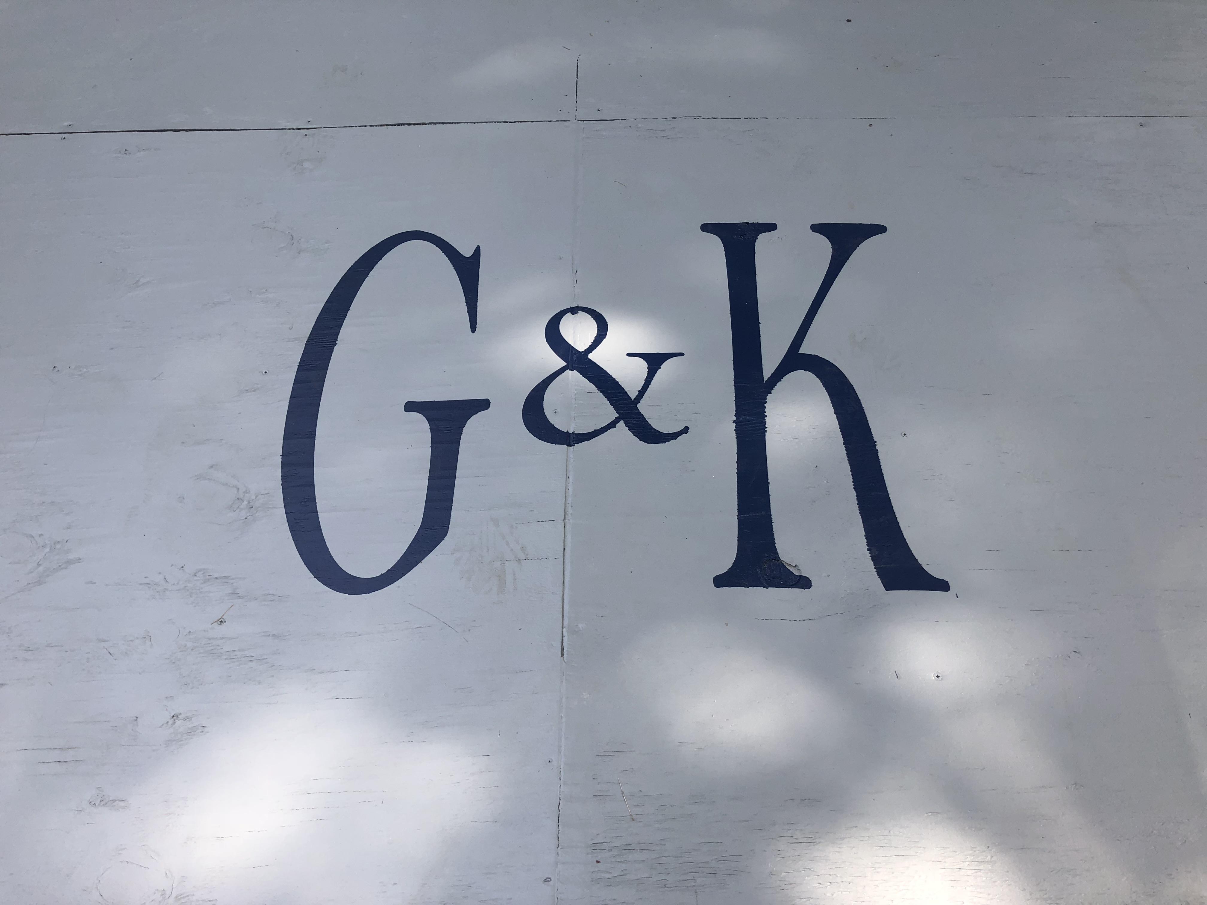 Painted Monogram on Plywood Dance Floor