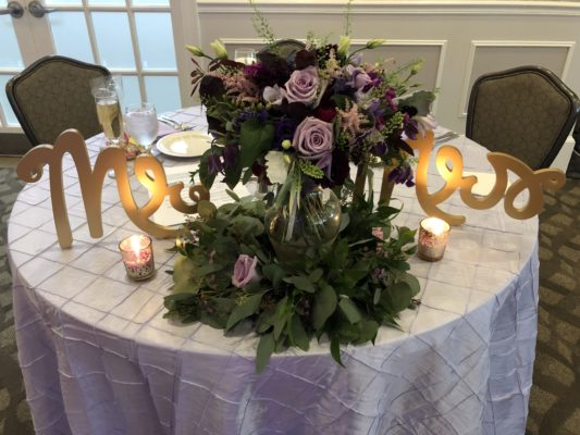 Sweetheart Table, with purple rose bouquet, at the Woodlands in Falmouth, Maine.