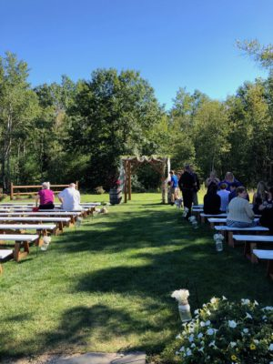 Macey and John Warming's ceremony prelude at The Hitching Post of Maine