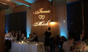 Light Blue Uplighting with GOBO, Monogram, Jamie and Mark with Hearts In The MIddle