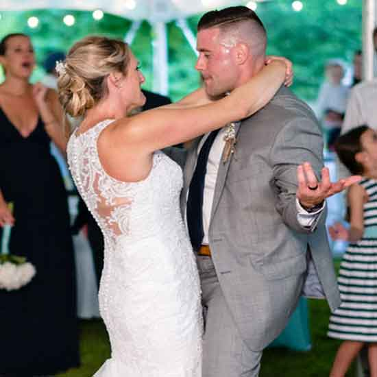 newly married bride and groom dancing in kennebunk maine