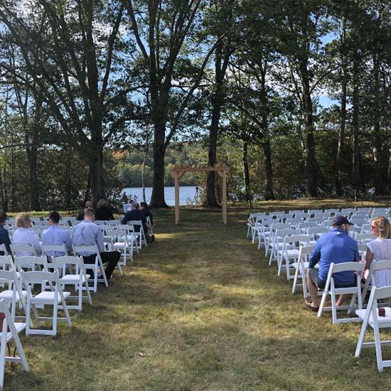 outdoor maine wedding ceremony
