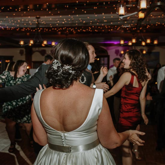 bride dancing from the djs in maine of bouchard entertainment