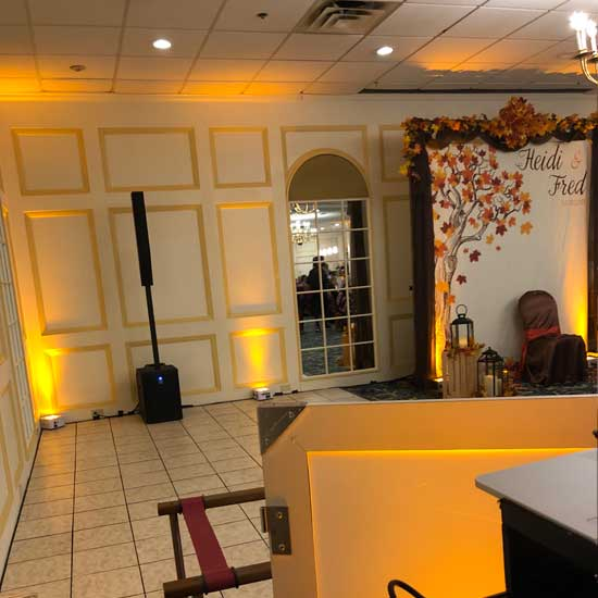 amber wedding uplighting at the senator inn and spa in augusta maine
